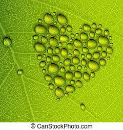cuore, eps10, illustrazione, leaf., rugiada, forma, vettore, verde, gocce