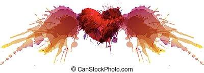 cuore, fatto, grunge, colorito, schizzi, ali