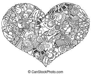 cuore, fatto, heart., sketch., traccia, personale, scarabocchiare, theme., mano, musica, disegnato, instruments., musicale
