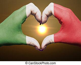 cuore, fatto, italia, colorato, amore, simbolo, bandiera, gesto, mani, durante, esposizione, alba