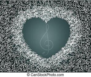cuore, fatto, note, valentines, -, musica, disegno, astratto
