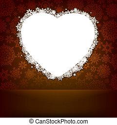 cuore, fatto, snowflakes., eps, 8, bianco