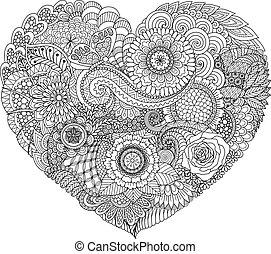 cuore, floreale