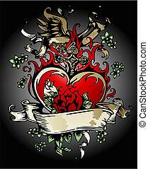 cuore, flores, croce, vendemmia