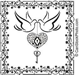 cuore, flourishes, 2, colombe