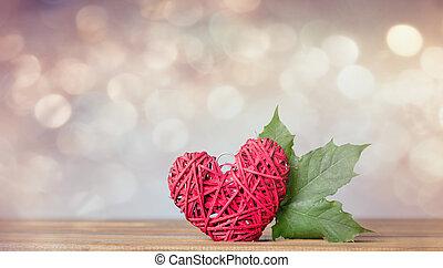cuore, foglia, regalo, autunno, forma, acero
