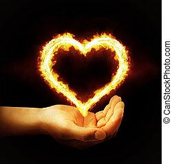 cuore, fondo, fuoco, mano, nero, presa a terra