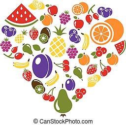 cuore, frutta, icone