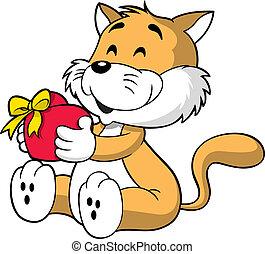 cuore, gatto, presa a terra, carino
