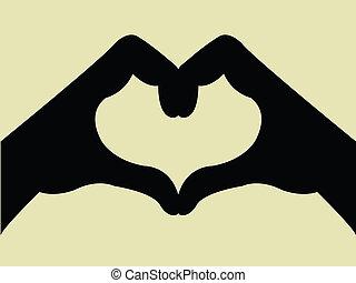 cuore, gesto mano, forma