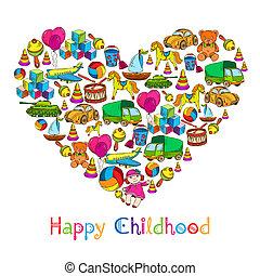 cuore, giocattoli, infanzia, felice