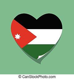 cuore, giordania, amore, bandiera