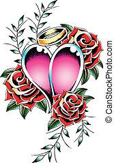 cuore, gotico, emblema, tatuaggio