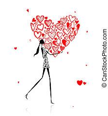 cuore, grande, valentina, day., ragazza, rosso