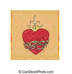 cuore, grunge, sacro, fondo, gesù