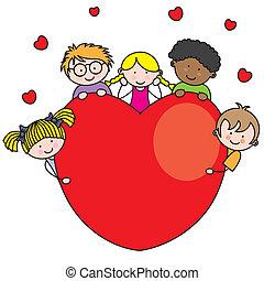 cuore, gruppo, bambini