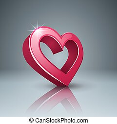 cuore, icon., love., 3d, realistico