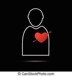 cuore, illustrazione uomo, icona
