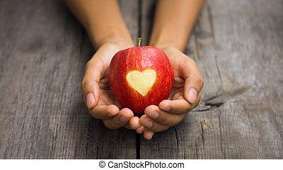 cuore, inciso, mela, rosso