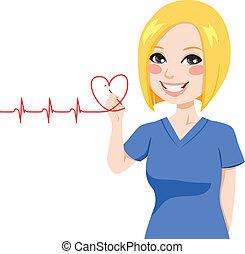 cuore, infermiera, disegno