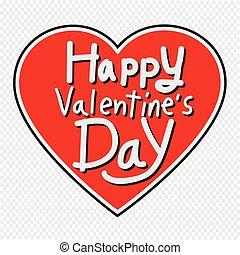 cuore, iscrizione, valentine, illustrazione, augurio, vettore, giorno, scheda, felice