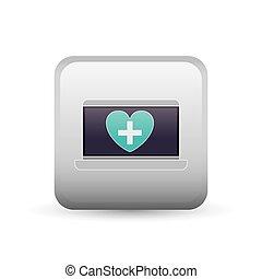 cuore, laptop, croce, disegno, cornice, dentro