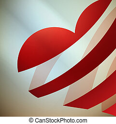 cuore, light., nastro, rosso
