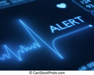 cuore, linea, allarme, monitor, appartamento
