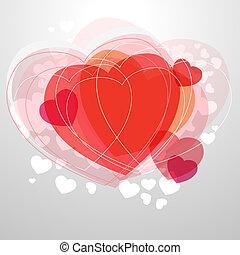 cuore, luce, moderno, grigio, fondo, rosso