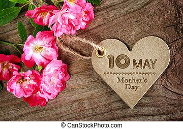 cuore, madri, maggio, modellato, rose, 10, giorno, scheda