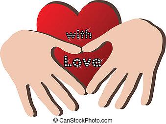cuore, mani, logotipo