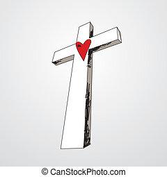 cuore, mano, croce, disegnato