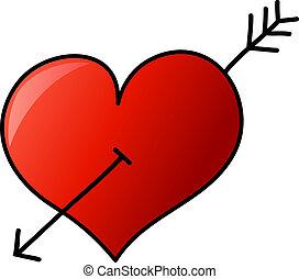 cuore, mano, freccia, disegnato