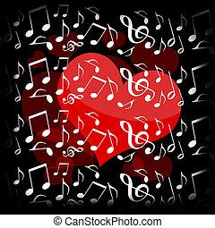 cuore, musica, notte