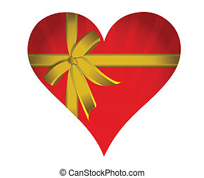 cuore, nastro rosso, dorato