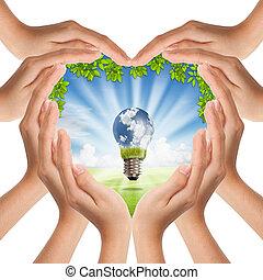 cuore, natura, luce, fare, coperchio, forma, mani, bulbo