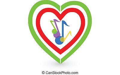 cuore, note, vettore, musica, logotipo