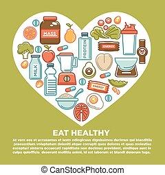 cuore, nutrizione, sano, manifesto, alimento dieta, supplemento, icons., idoneità, sport, dietetico
