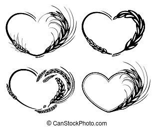 cuore, organico, frame., amore, segale, orzo, frumento