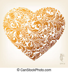 cuore, ornamentale, oro, modello