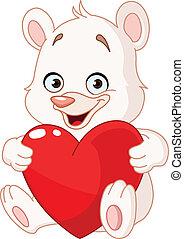 cuore, orso, presa a terra, teddy