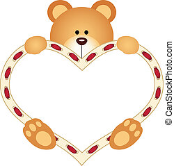 cuore, orso teddy, presa a terra, vuoto