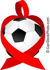 cuore, palla, football, calcio, o, nastro