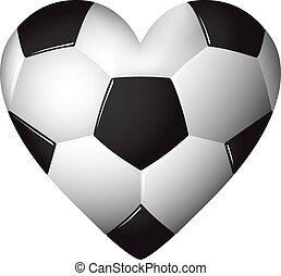 cuore, palla, illustration., modellato, football, -, calcio