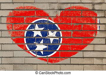 cuore, parete, forma, bandiera, tennessee, mattone