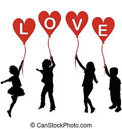 cuore, parola, silhouette, amore, palloni, bambini