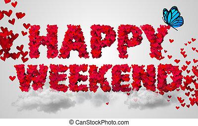 cuore, particelle, rosso, felice, fine settimana