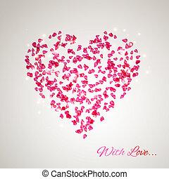 cuore, petali, rosa, gentile