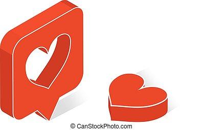 cuore, pictogram, puntatore, disegno, web, stile, fondo., app, bianco, logo., 3d, appartamento, isometrico, illustrazione, ui, simbolo., icona, mobile, infographic., mappa, vettore, o