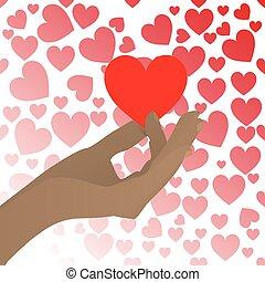 cuore, presa, fondo, mani